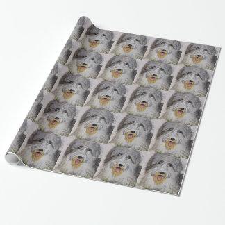Vieux chiot anglais de chien de moutons papier cadeau
