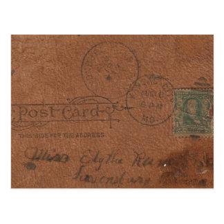 Vieux dos en cuir de carte postale