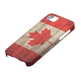Vieux drapeau canadien en bois étuis iPhone 5
