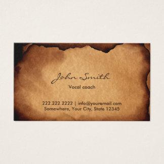 Vieux entraîneur vocal de papier brûlé vintage carte de visite standard