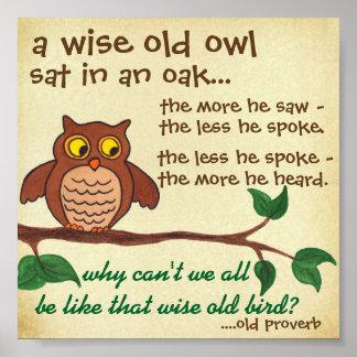 Vieux hibou sage - proverbe - mini affiche poster