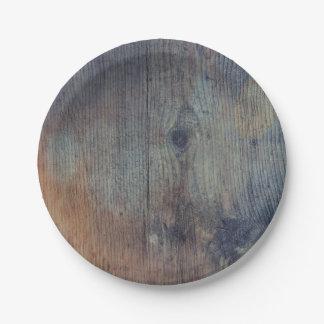 Vieux mariage en bois rustique de grange assiettes en papier