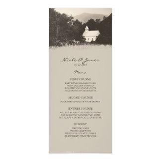 Vieux menu vintage de mariage d'église de montagne carton d'invitation  10,16 cm x 23,49 cm