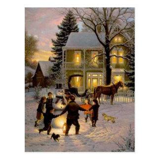 Vieux Noël de cru de mode Carte Postale
