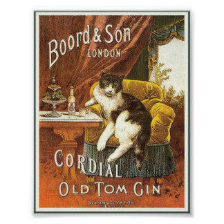 Vieux poster vintage de genièvre de Tom