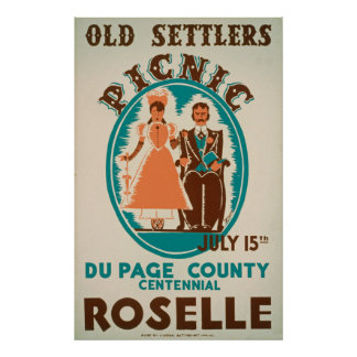 Vieux poster vintage de pique-nique de colons
