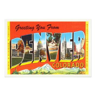 Vieux souvenir vintage de voyage de Denver le Photo D'art
