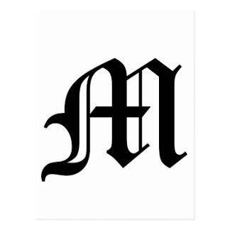 Vieux texte anglais de la lettre M sur l'arrière - Cartes Postales