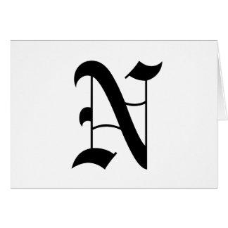 Vieux texte anglais de la lettre N sur l'arrière - Carte