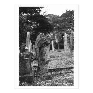 Vieux texte de carte postale de cimetière de