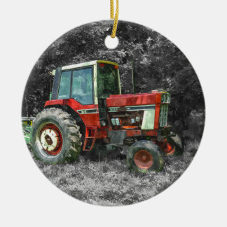 Vieux tracteur international Painterly Ornement Rond En Céramique