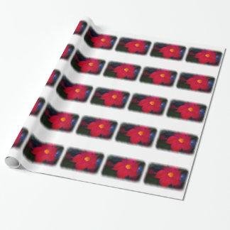 Vigne rouge de fleur sur le blanc papier cadeau