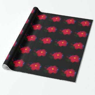 Vigne rouge de fleur sur le noir papier cadeau
