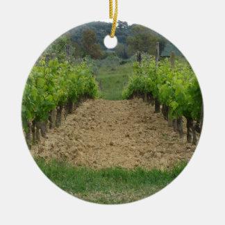 Vignoble au printemps. La Toscane, Italie Ornement Rond En Céramique