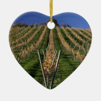 Vignoble de vin ornement cœur en céramique