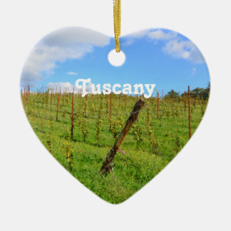 Vignoble toscan ornement cœur en céramique