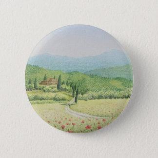 Vignobles toscans, Italie dans l'insigne en pastel Badge Rond 5 Cm
