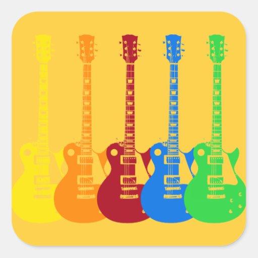 Vijf Kleurrijke Elektrische Gitaren Sticker