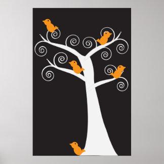 Vijf Oranje Vogels in een Poster van de Boom