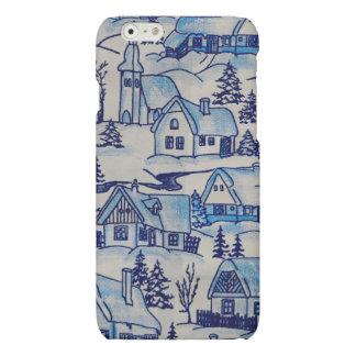 Village bleu vintage de vacances de Noël