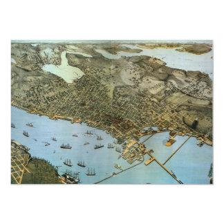 Ville antique de vue aérienne de carte de Seattle