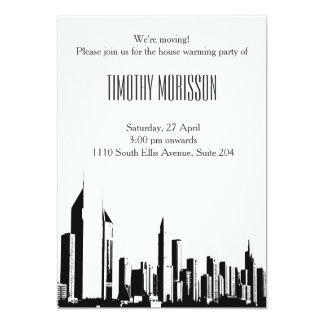 Ville de chauffage de blanc de noir d'invitation carton d'invitation  12,7 cm x 17,78 cm