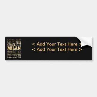 Ville de Milan d'art de typographie de l'Italie Autocollant De Voiture