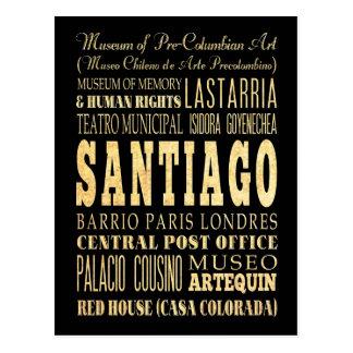 Ville de Santiago d'art de typographie du Chili Carte Postale