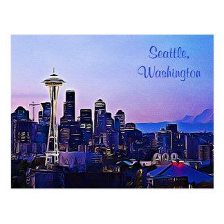 Ville de Seattle en carte postale de Washington