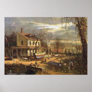 Ville des USA à la moitié du 19ème siècle Poster