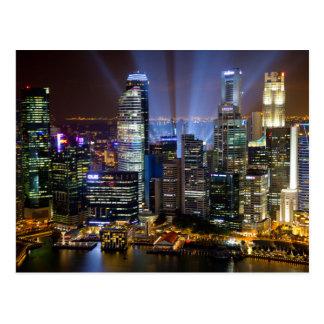 Ville du centre de Singapour la nuit Carte Postale