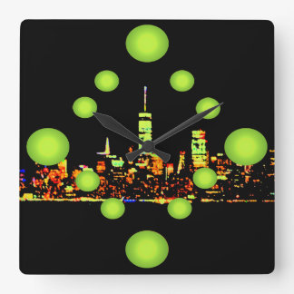 Ville New York de nuit de l'art de bruit NYC Horloge Carrée