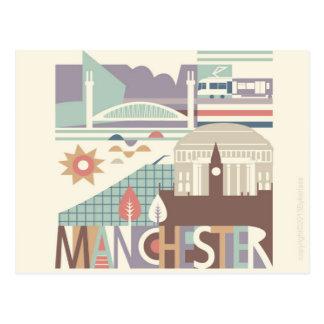 Ville Scape Manchester et la carte postale du