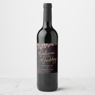 Vin de Bourgogne et accueil rose de mariage d'or Étiquette Pour Bouteilles De Vin