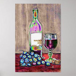 Vin et affiche modernes d'art de raisins