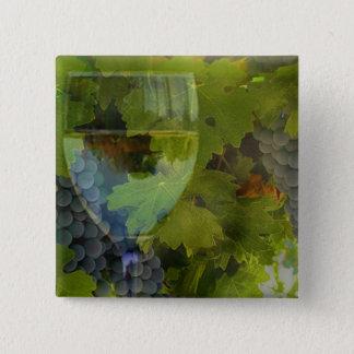 Vin et bouton de raisins badge carré 5 cm