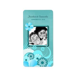 Vin floral bleu de faveur de photo de mariage de étiquettes d'adresse