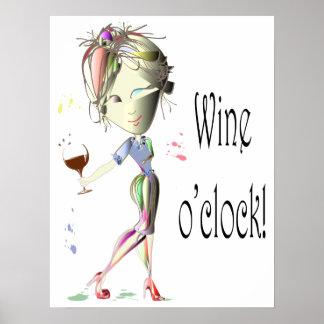 Vin humoristique heure de vin indiquant l'affiche poster