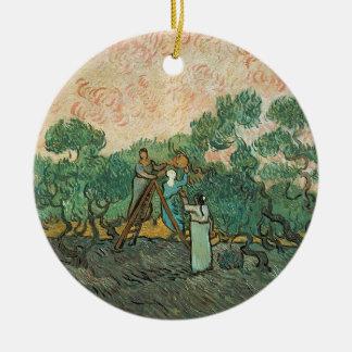 Vincent van Gogh | les récolteuses olives, Ornement Rond En Céramique