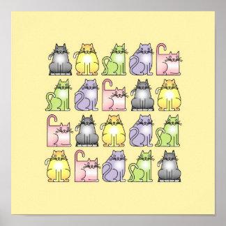 vingt chats humoristiques de bande dessinée poster