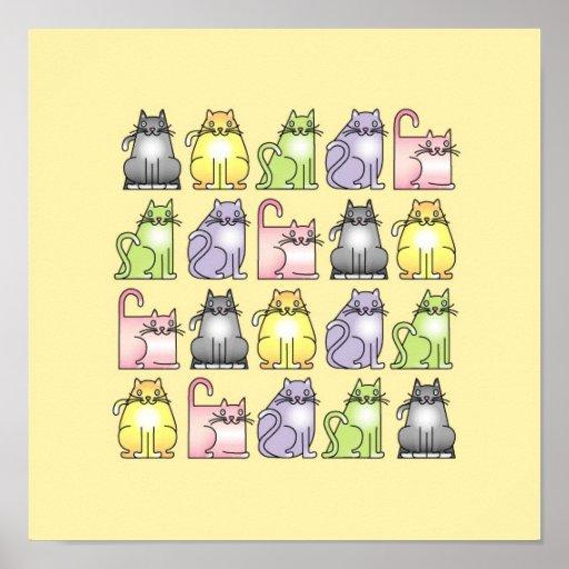 vingt chats humoristiques de bande dessinée affiches