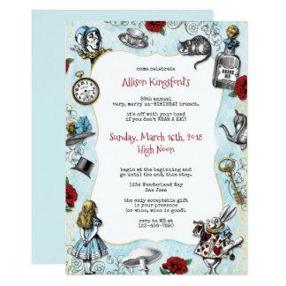 Vintage Alice in de Verjaardag van het 12,7x17,8 Uitnodiging Kaart