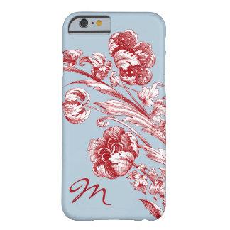 Vintage Bloemen, Gepersonaliseerd Rood, Wit en Barely There iPhone 6 Hoesje