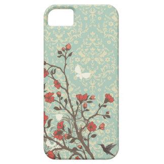 Vintage bloemenwervelingendamast + vogel iphone 5