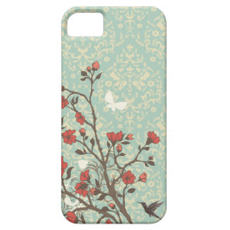 Vintage bloemenwervelingendamast + vogel iphone 5  barely there iPhone 5 hoesje
