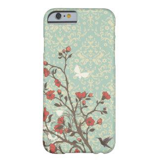 Vintage bloemenwervelingendamast + vogel iPhone 6 Barely There iPhone 6 Case