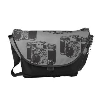 Vintage Camera Black Grey Rickshaw Messenger Bag