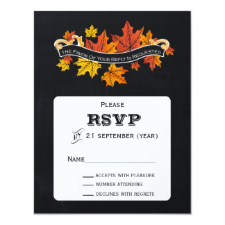 Vintage Chalkboard fall wedding  rsvp Personalized Announcements