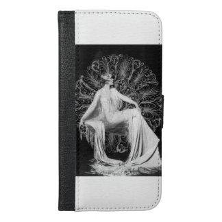 Vintage Dame Wallet Grijs Case, Foto iPhone 6/6s Plus Portemonnee Hoesje