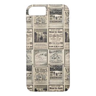 Vintage Fiets Adverterene Collage in Sepia Tonen iPhone 8/7 Hoesje